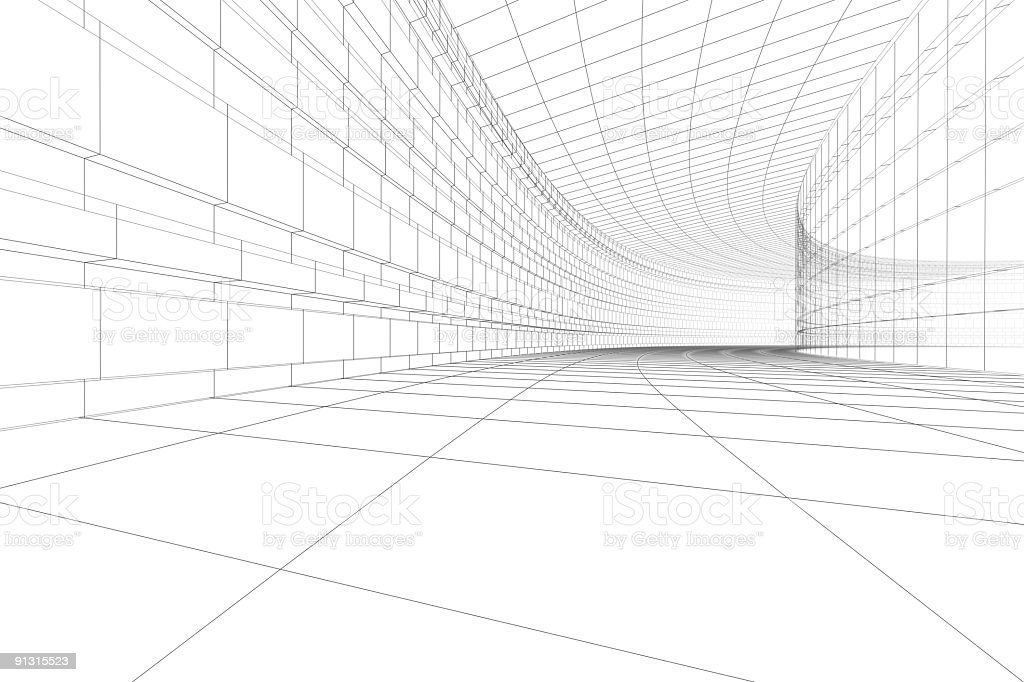 3D architectural construction in white royalty-free stock photo