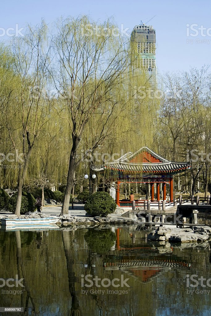 architectural contrast in Beijing, China royalty-free stock photo