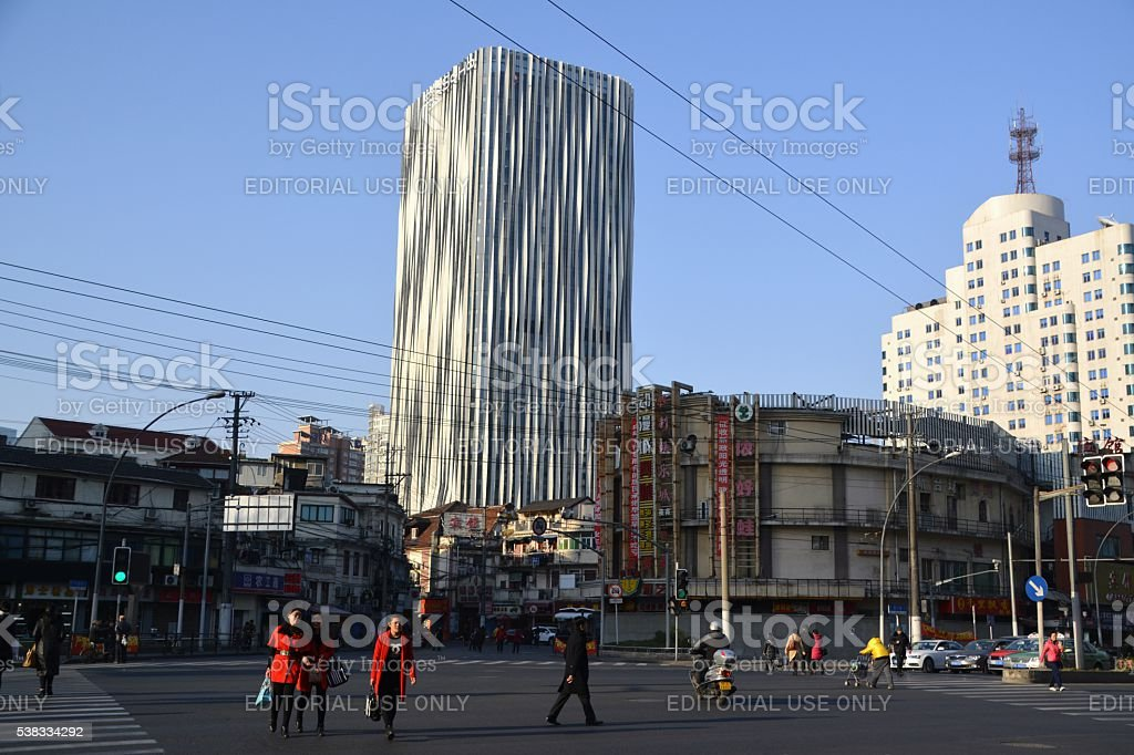 Architectural contrasts in Hongkou district, Shanghai, China stock photo