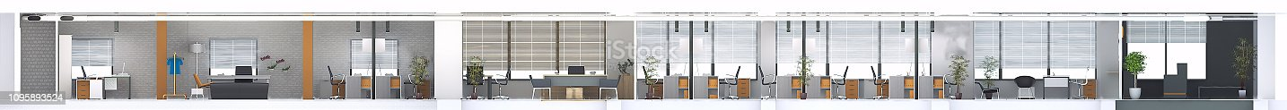 Architectural cross section of design office project render by 3d software