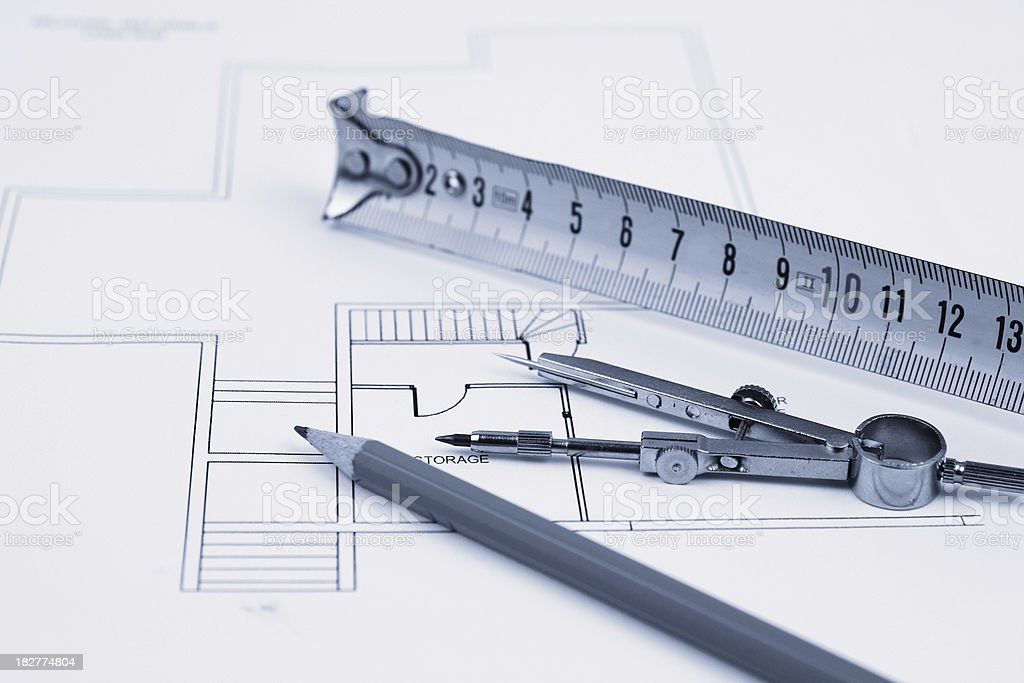 Architectural Design and Blueprint royalty-free stock photo