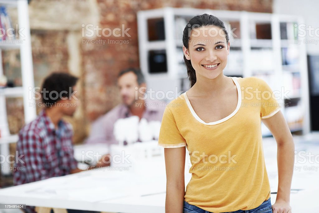 Architectural design is her playground royalty-free stock photo