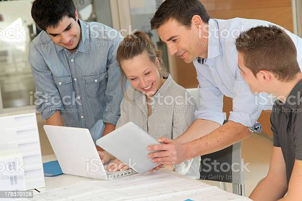 Architectural Design Students With Tablets Stock Photo - Download Image Now