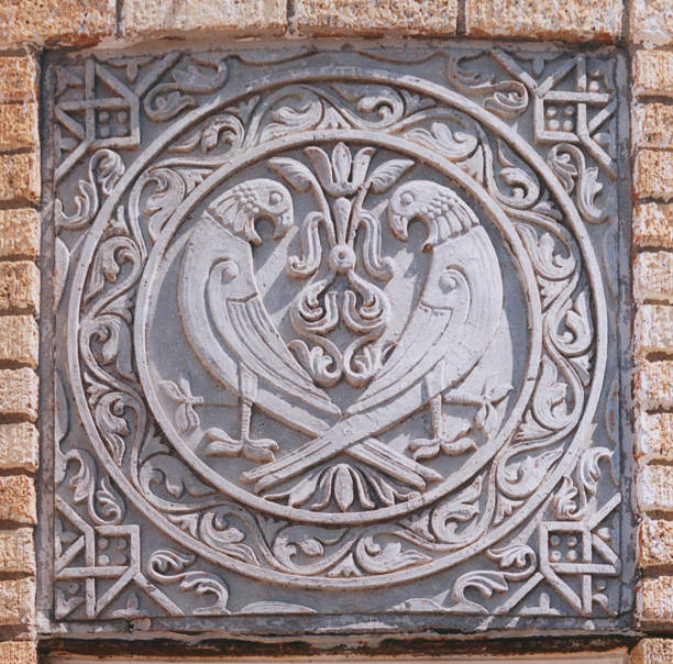 Architectural Detail Medallion with Two Birds stock photo