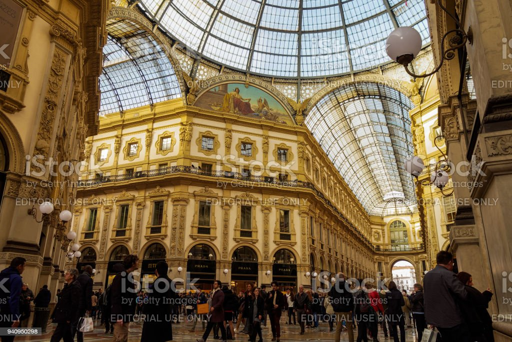 Architectural detail of 1877 Piazza del Duomo arcade with shops, one of the oldest malls in Europe. stock photo
