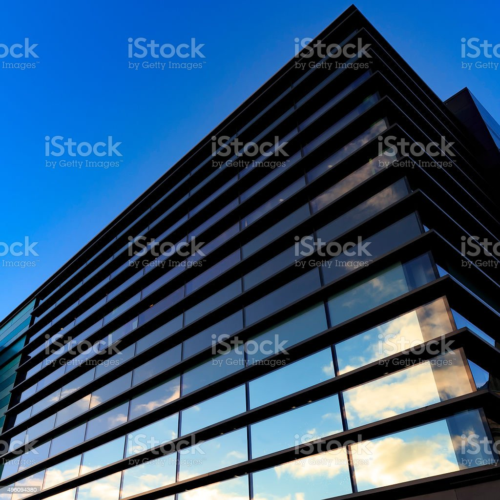 Architectural detail of a modern commercial building stock photo