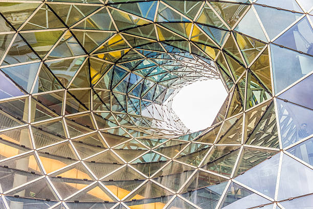 architectural detail of a shopping mall in frankfurt - cupola stock pictures, royalty-free photos & images