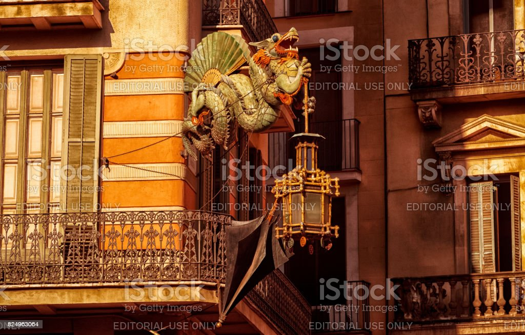 Architectural detail of a street lamp stock photo