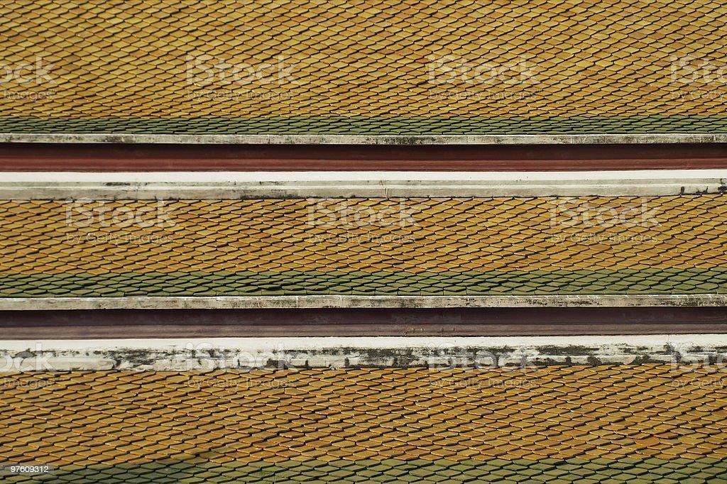 Architectural Detail of Buddhist Temple Roof Tiles royaltyfri bildbanksbilder