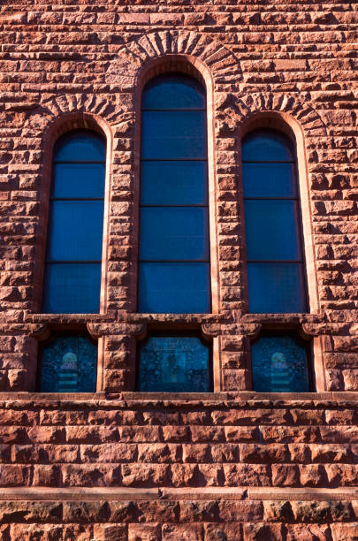 Architectural Detail of Building Wall and Windows stock photo