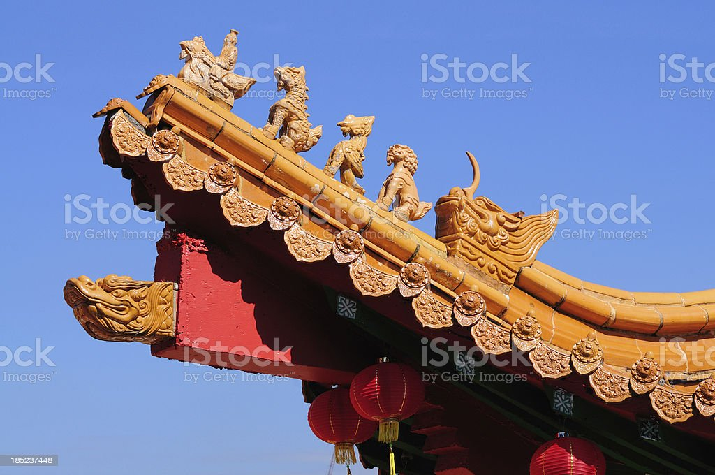 Architectural Detail Of Chinese Temple Rooftop stock photo