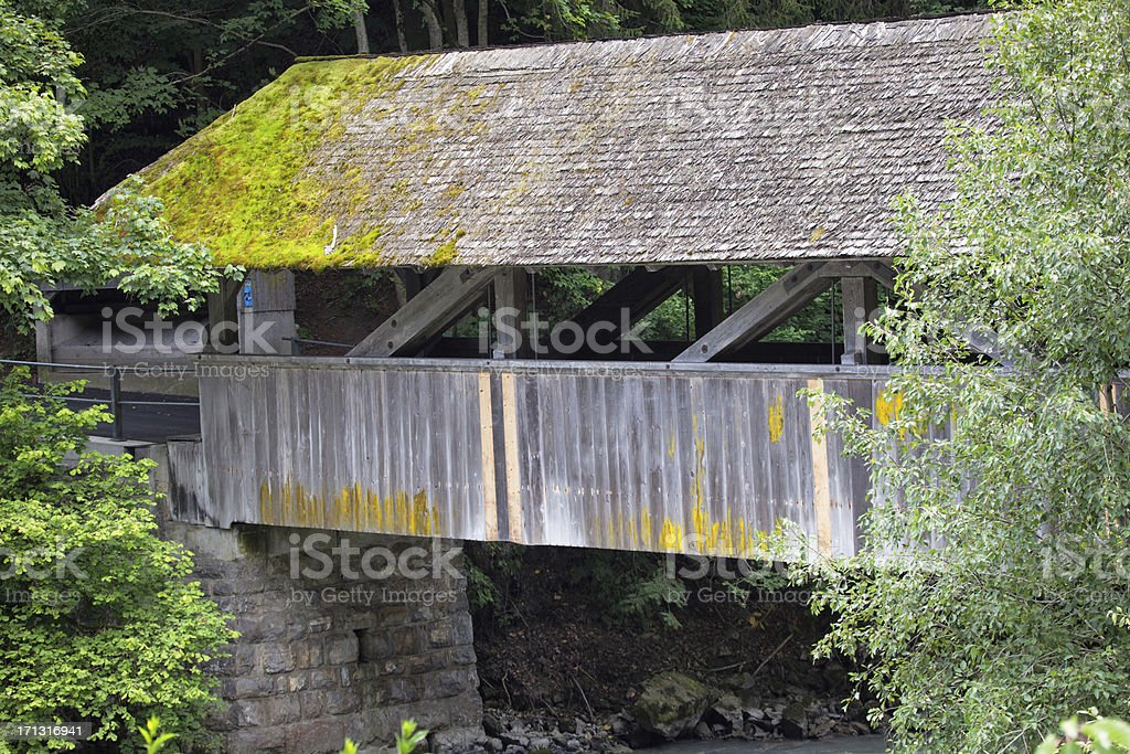 Architectural Detail of Covered Wooden Bridge, Swiss Alps royalty-free stock photo