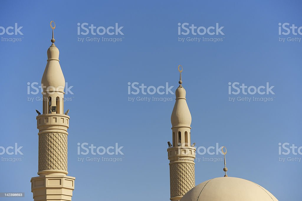 Architectural detail of Dubai mosque minarets royalty-free stock photo