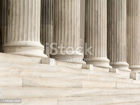 istock Architectural detail of marble steps and ionic order columns 1152021005