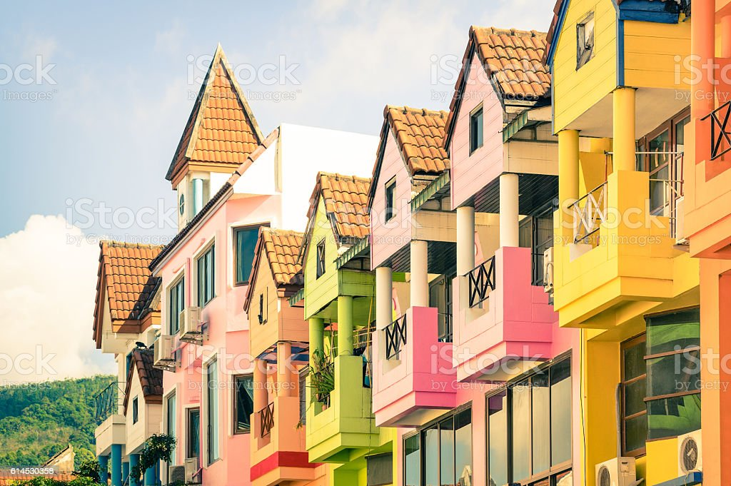 Architectural detail of multicolored vintage houses in Patong Phuket Thailand stock photo
