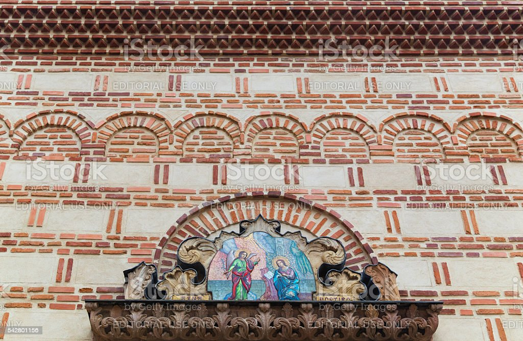 Architectural detail of st. Anton Church in Bucharest stock photo
