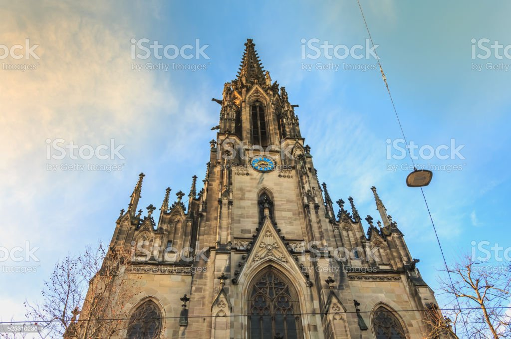 architectural detail of the Church of St Elizabeth in Basel, Switzerland stock photo