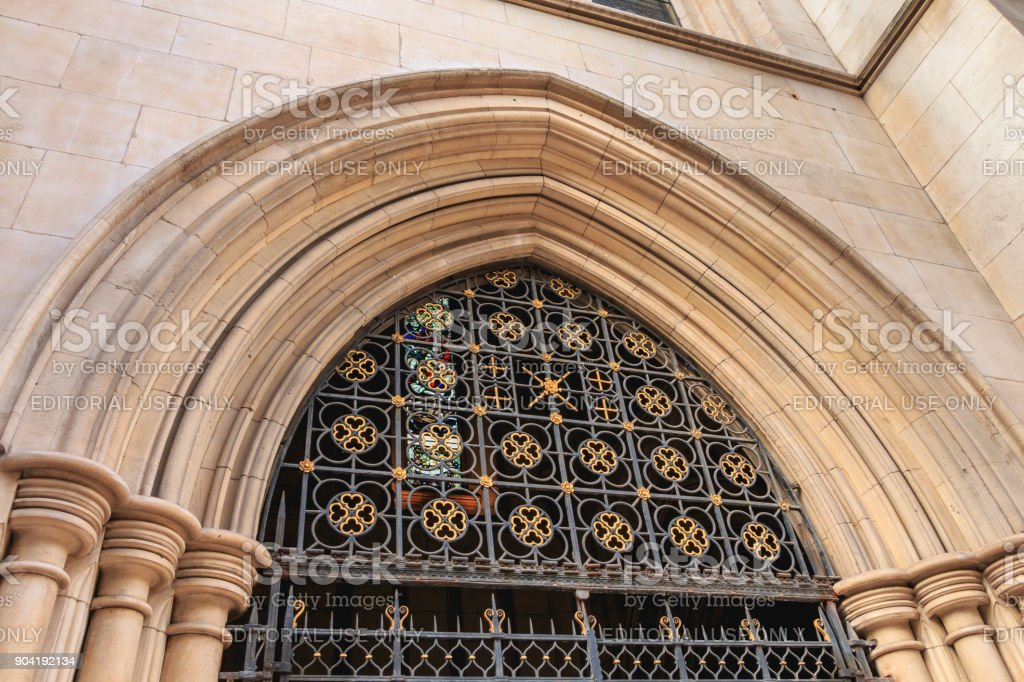 architectural detail of the facade of the American cathedral in Paris stock photo