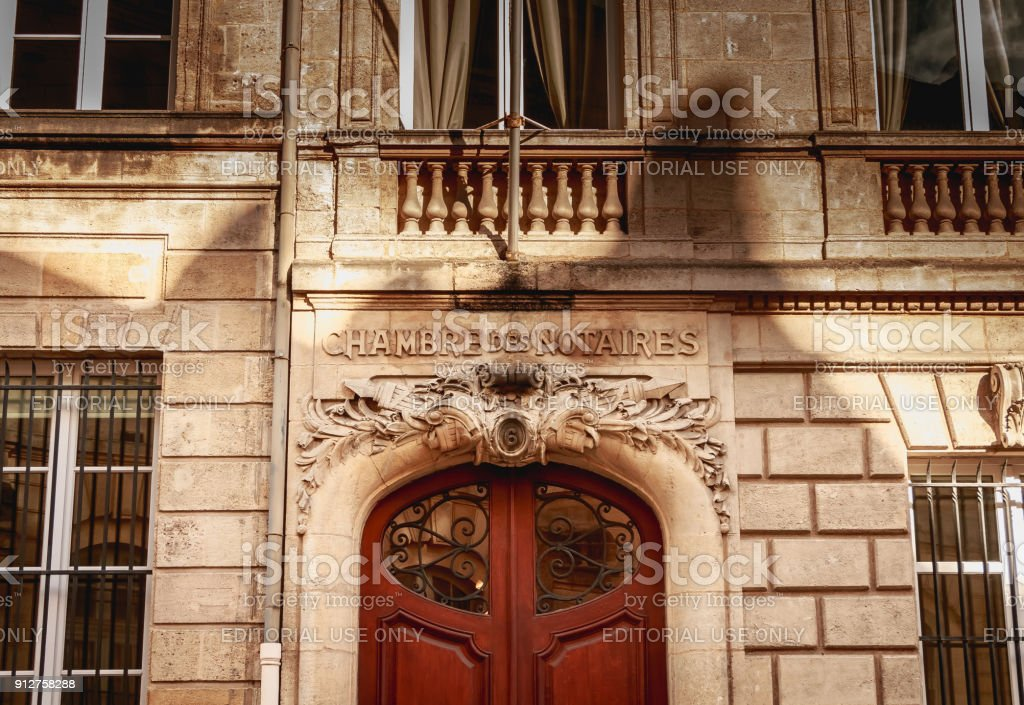 architectural detail of the facade of the notaries chamber stock photo