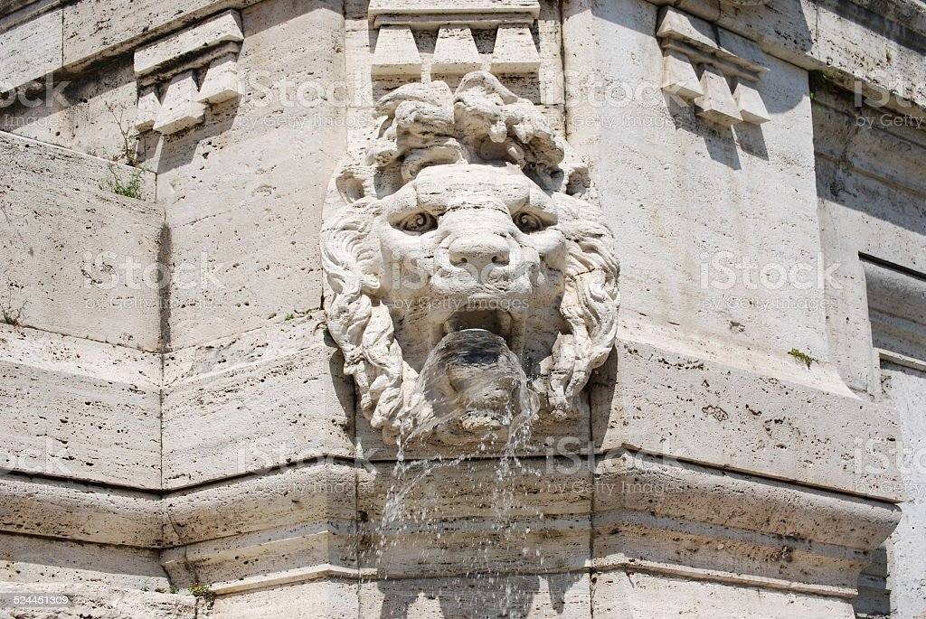 Architectural detail of the facade of the Palace of Justice stock photo