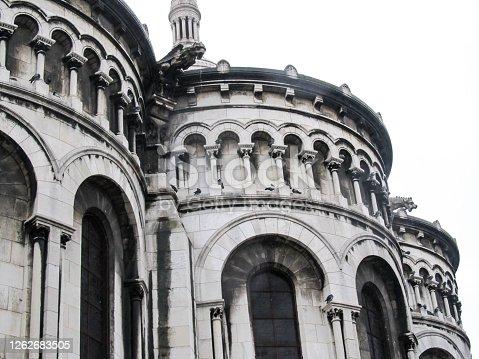 Close view of the Architectural detail of the Sacre Couer Basilica, Montmartre, Paris