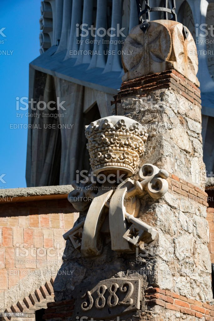 architectural detail of the Sagrada Familia cathedral in Barcelona stock photo