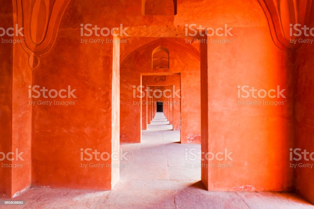 Architectural Detail of the Taj Mahal in Agra, India stock photo