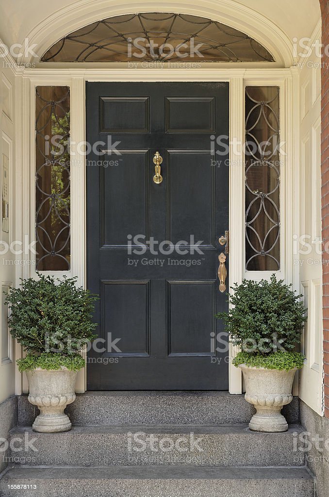 Architectural Detail on a Front Door stock photo