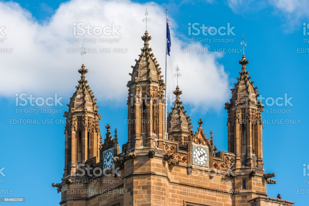 Architectural detail on top of famous Quadrangle building in University of Sydney stock photo