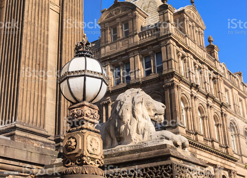Architectural details at Leeds Town Hall showing the lions stock photo