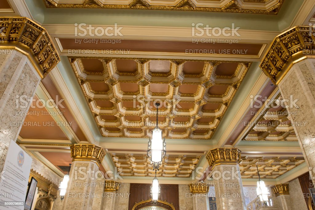 Architectural details inside the Atlanta City Hall stock photo