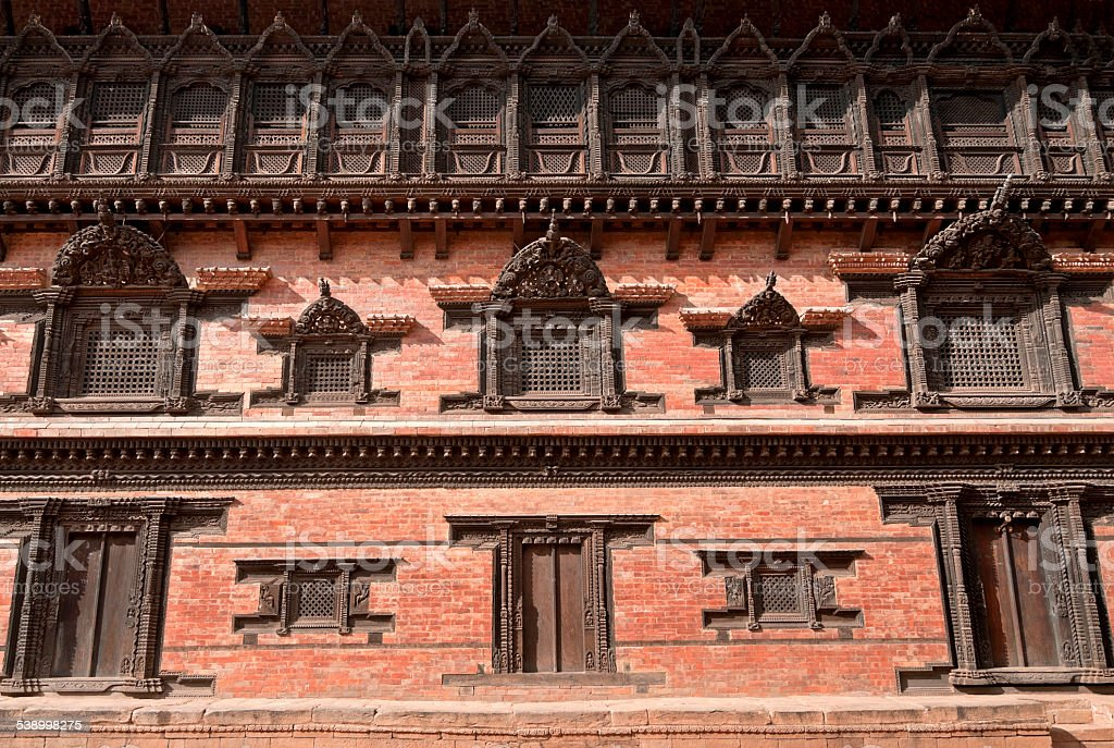 Architectural details of 55-Window Palace of Bhaktapur. stock photo