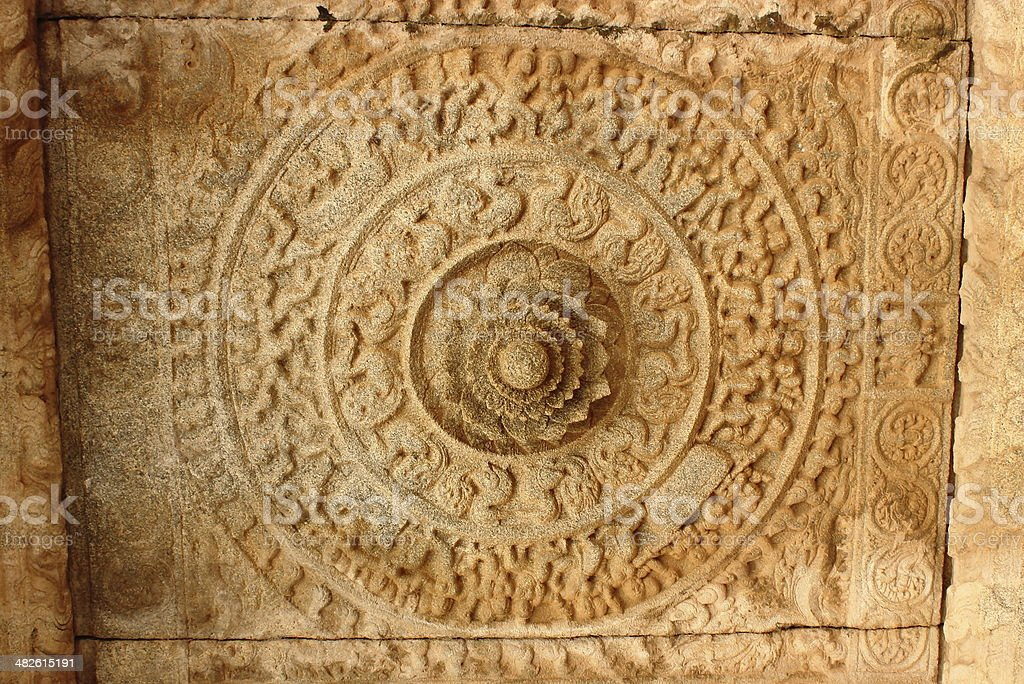 Architectural details of a ceiling in Vittal temple stock photo