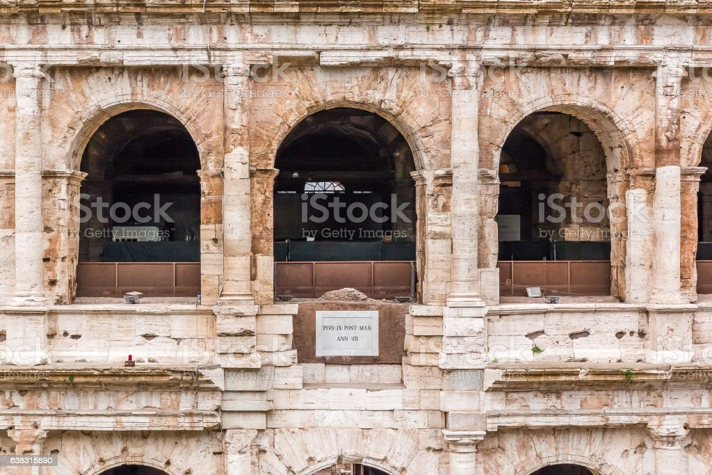 Architectural details of Colosseum in Rome Italy stock photo
