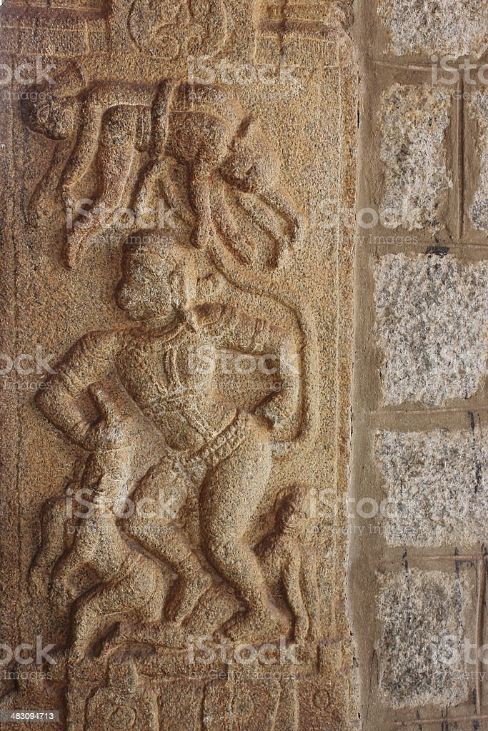 Architectural details of exterior work in Vittal temple stock photo