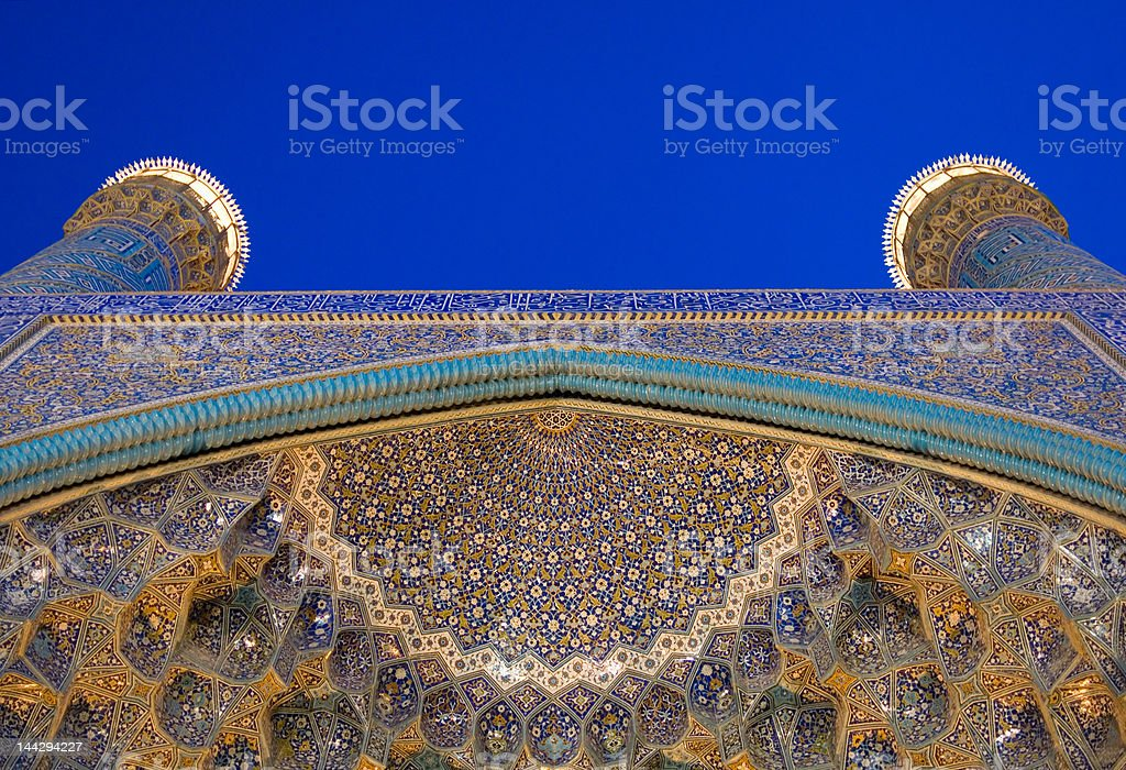 Architectural details of Imam Mosque at night, Isfahan, Iran royalty-free stock photo
