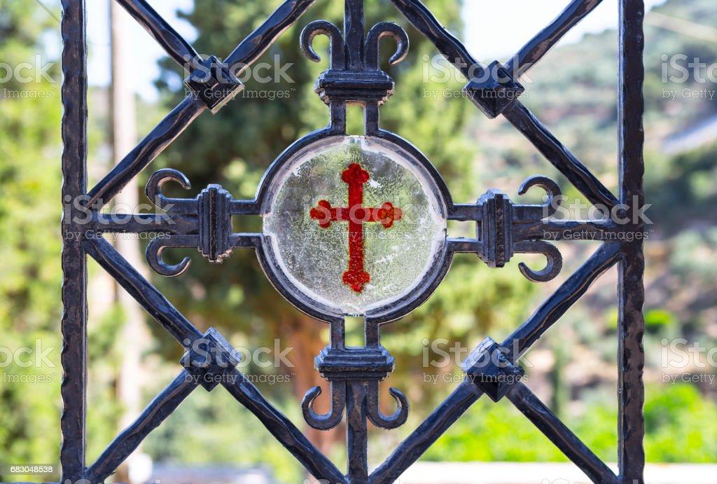 Architectural details of Monastery Kera Kardiotissa in the mountains of Crete. Greece foto de stock royalty-free