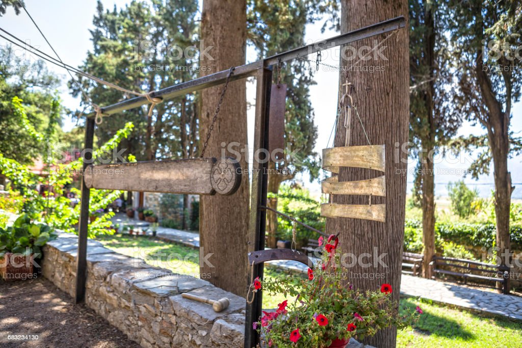 Architectural details of monastery of Mother Mary Vidiani in Crete. Greece 免版稅 stock photo