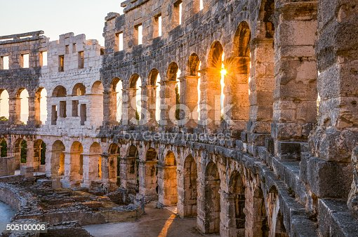 istock Architectural Details of Pula Coliseum, Croatina 505100006