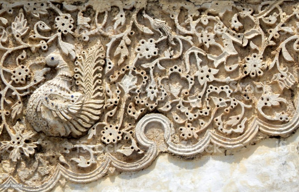 Architectural details of ruins of Heritage and Monument Golconda fort built in 1600s,Hyderabad,India stock photo