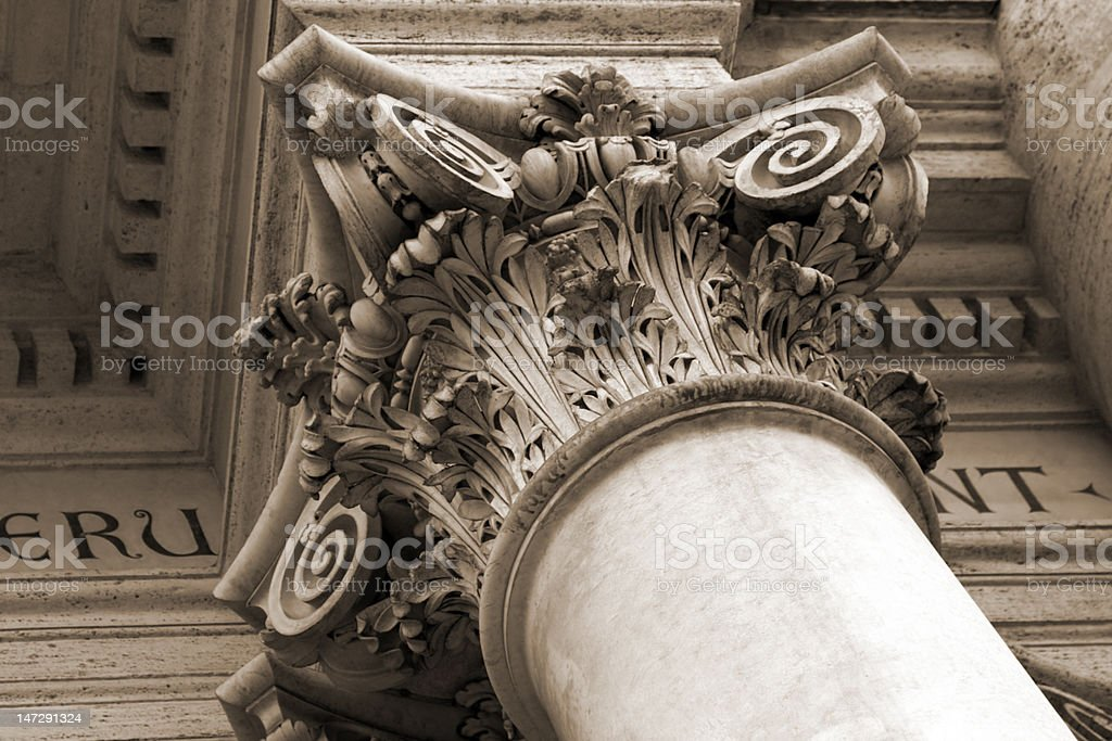Architectural details of San Giovanni in Laterano cathedral stock photo