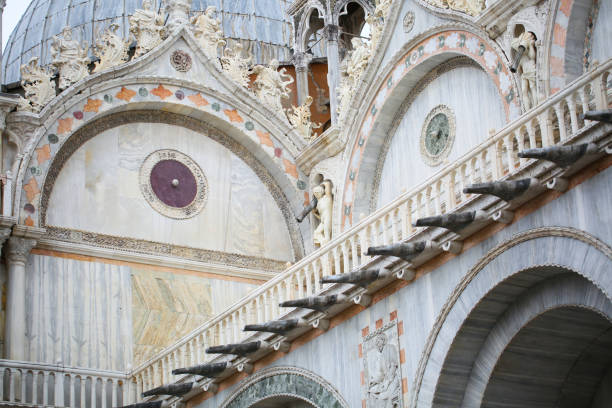 Architectural details of St. Mark's Basilica stock photo
