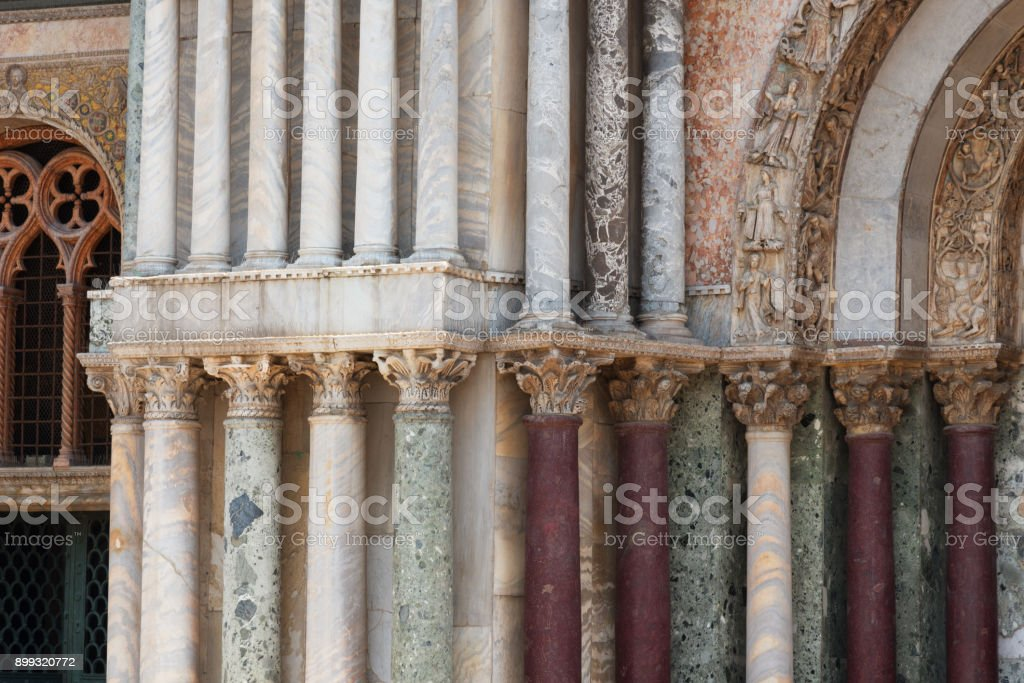 Architectural details of the Basilica di San Marco (San Marco Cathedral), Venice, Italy. stock photo