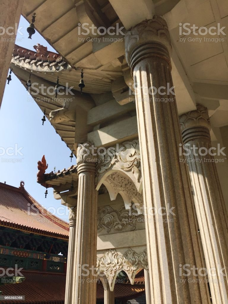 Architectural details of the Buddhist Temple (Kunming, Yunnan, China) royalty-free stock photo