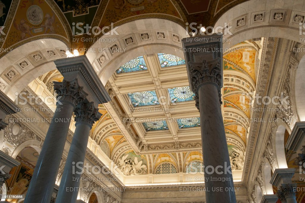 Architectural details of the Library of Congress stock photo