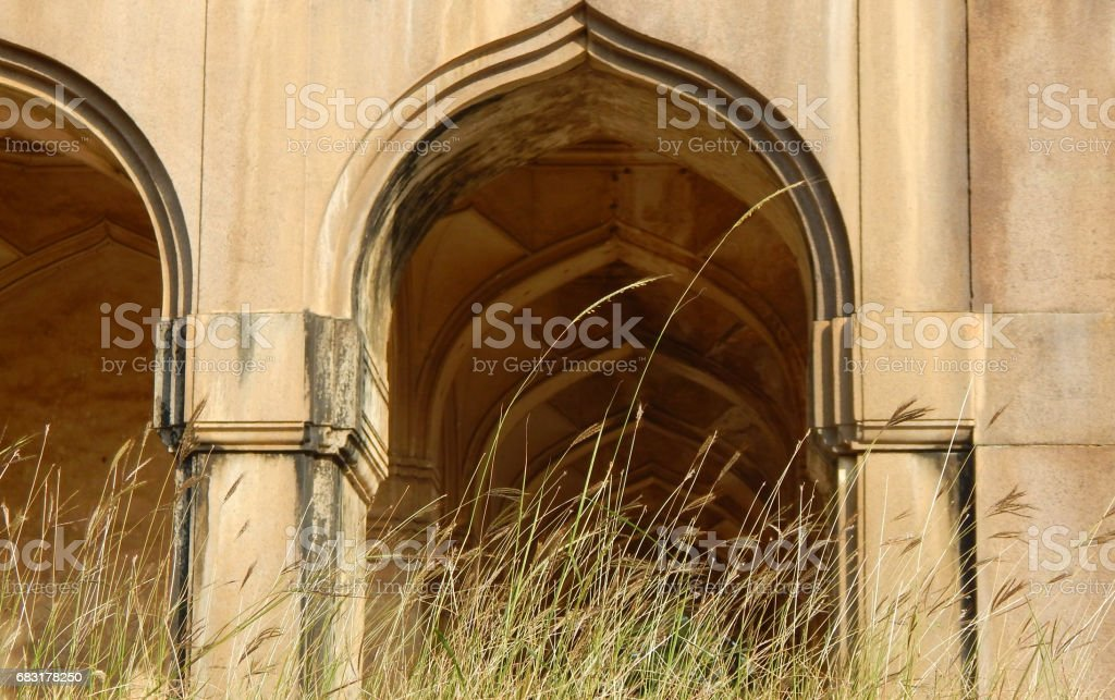 Architectural details of Tomb in Qutb Shahi Tombs Monument construction started in 1543 in Hyderabad,India. stock photo