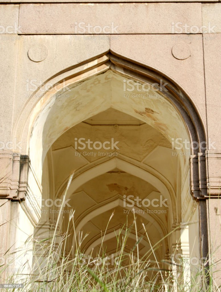 Architectural details of tombs of seven Qutub Shahi rulers of Hyderabad state built in 1500's stock photo