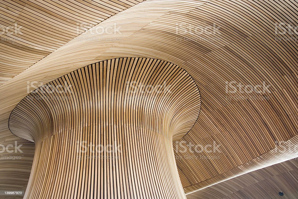 Architectural details of Welsh Assembly Building, Cardiff Bay, UK. stock photo