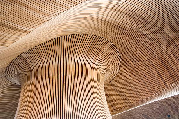 Detalles arquitectónicos del edificio de la Asamblea de Galés, bahía de Cardiff, Reino Unido. - foto de stock