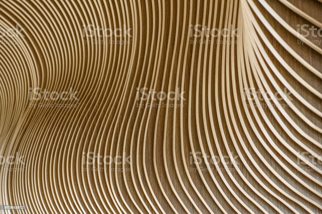 Architectural details of Welsh Assembly building. Wooden planks from sustainable sources. Eco-friendly design at its best. - foto stock